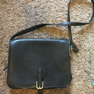 Coach black leather postal bag